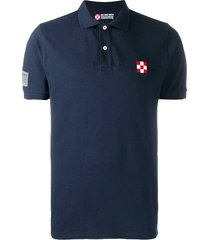 blue piquet polo with st. barth check logo #los angeles