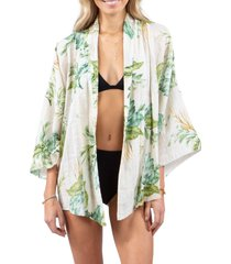 rip curl palmetto tropical print wrap, size small in off white at nordstrom