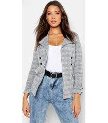 tall flannel button detail blazer, grey