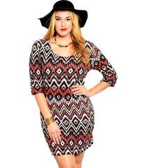 womens sheath dress chevron plus size 1xl 2xl 3xl brown 3/4 sleeves scoop neck