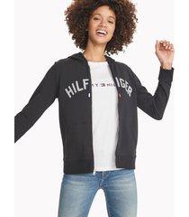 tommy hilfiger women's essential logo zip hoodie jet black - xxs