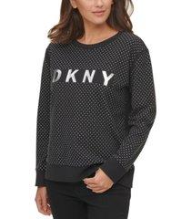 dkny stud-detail cotton logo sweatshirt