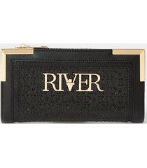 river island womens black river embossed purse
