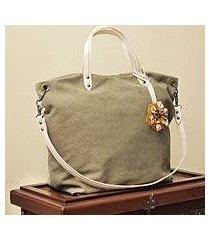 cotton and leather accent shoulder bag, 'andean florette on khaki' (peru)