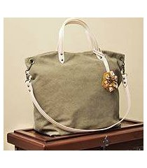 cotton and leather accent shoulder bag, 'andean florette on khaki' (peru)
