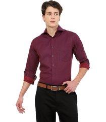 camisa manga larga los caballeros vinotinto y magenta