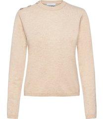 cashmere knit stickad tröja creme ganni
