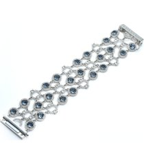 givenchy silver-tone stone & crystal openwork statement bracelet