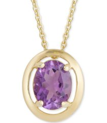 "amethyst oval 18"" pendant necklace (2-3/8 ct. t.w.) in 18k gold-plated sterling silver"