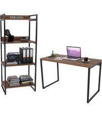 conjunto escritã³rio estilo industrial mesa 135cm e estante 60cm 4 prateleiras prisma nogal - mpozenato - marrom - dafiti