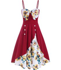 mock buttons knotted sunflower cami dress