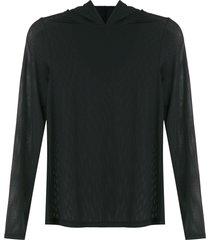lygia & nanny mesh panel hoodie - black