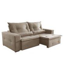 sofá 3 lugares retrátil e reclinável caxambu ii veludo jolie bege