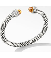 david yurman cable classics bracelet with semiprecious stones & diamonds, 7mm, size medium in silver/diamond/citrine at nordstrom