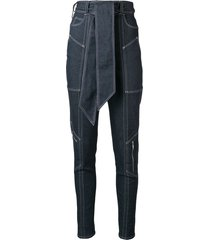 talbot runhof belted tapered trousers - blue
