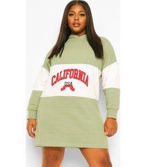 plus california sweatshirt jurk met capuchon, sage