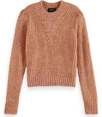 scotch & soda 163820 0597 loose fit crewneck pullover with puff sleeves combo r