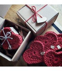 zestaw podkładek pod kubek serce