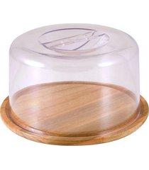 queijeira prato em madeira sutil 21x12cm