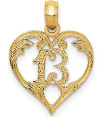 13 in heart pendant in 14k yellow gold