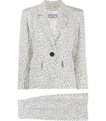 yves saint laurent pre-owned confetti print skirt suit - white