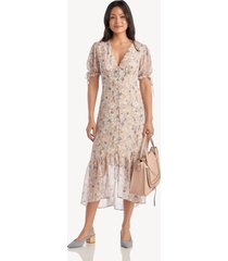 astr women's chandler dress in color: peach grey floral size large from sole society