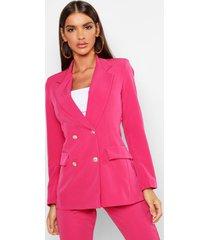 boxy blazer met dubbele knopen, warm roze