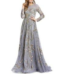 mac duggal embellished mesh a-line gown