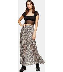 leopard print burnout maxi skirt - true leopard