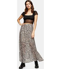 leopard print burnout maxi skirt - true leopard