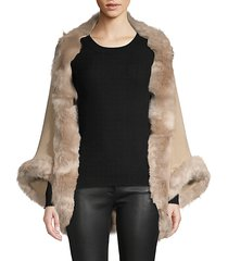 faux fur-trim open-front poncho