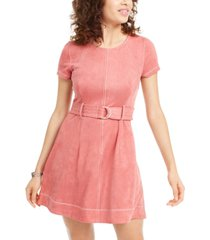 derek heart juniors' faux-suede belted fit & flare dress