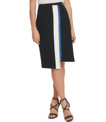dkny colorblock asymmetric pencil skirt