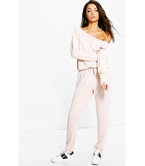 tall lounge jumpsuit met boothals, blush