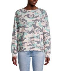 wildfox women's butterflies & camo sweatshirt - size xs
