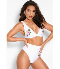 mix & match plunge applique bikini top, white