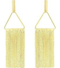 brinco maxi franja com triangulo 3rs semijoias dourado