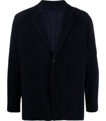 homme plissé issey miyake pleated single-breasted blazer - blue