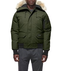 men's canada goose chilliwack down bomber jacket with genuine coyote fur trim, size large - green