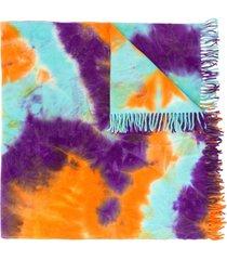 mauna kea tie-dye print frayed scarf - orange