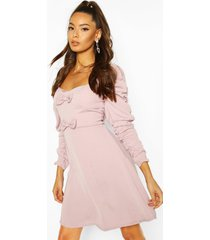 bow detail skater dress, mauve