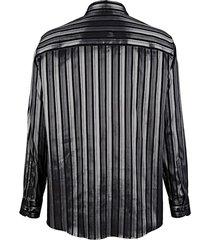 skjorta roger kent svart::silverfärgad