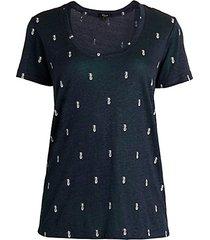 luna pineapple linen-blend graphic t-shirt