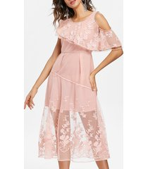 embroidered sheer lace midi dress