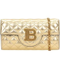 balmain clutch in gold leather