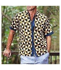 men's batik cotton shirt, 'bold and confident' (indonesia)