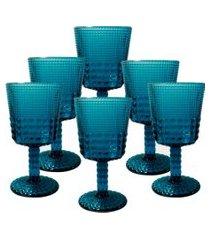 conjunto de taças quadriculadas azul 6 peças
