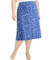 kasper plus size printed midi skirt