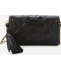 tory burch women's fleming soft wallet cross body bag - black