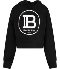 balmain black sweatshirt for girl with white logo